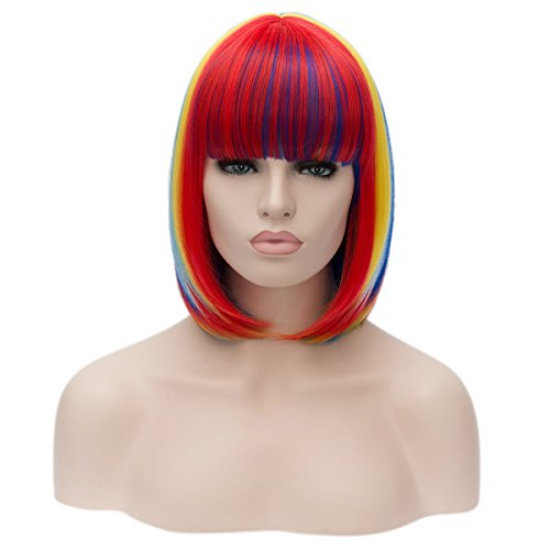 Topwigy Women's Cosplay Wig Straight Heat Resistant Colorful Bob Wigs with Bangs Costume Wig (Multi (Cheap Colorful Costumes Wigs)