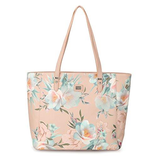 Design Leather Tote Bag (DAVIDJONES Woman's Tote Handbags PU Leather Flora Top Handle Shoulder Purse -- PINK)