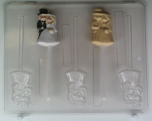Cute bride & groom with Top Hat W011 Wedding chocolate candy mold
