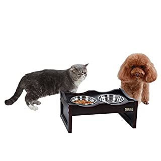 Petsfit Elevated Dog Feeding Station with 2 Replaceable Stainless Steel Bowls for 10 Inches Height Dogs