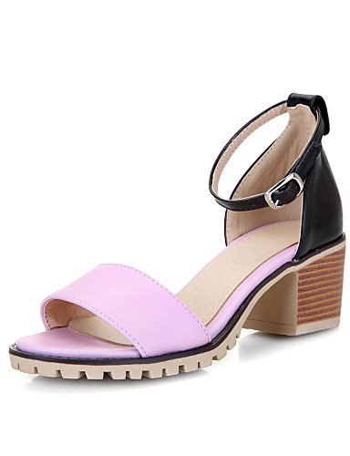 Black Heel White Women's Heels Strap Career Chunky amp; Sandals Ankle ShangYi Peep Pink Shoes Toe Beige Office Outdoor q6wAdU