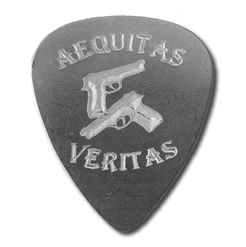 Saints Aequitas Veritas Crossed Guns Guitar Engraved Text Guitar and Bass Pick Gift (Silver)