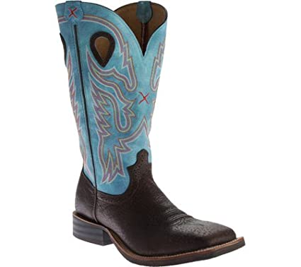 Twisted X Boots Men's MRS0042 Ruffstock,Brown Distressed/Blue,US ...