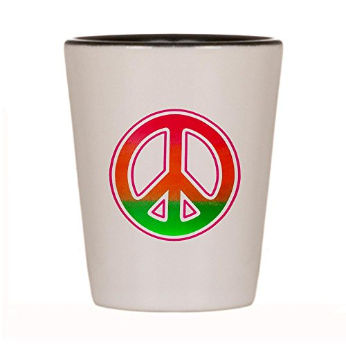 Shot Glass White and Black of Neon Peace Symbol