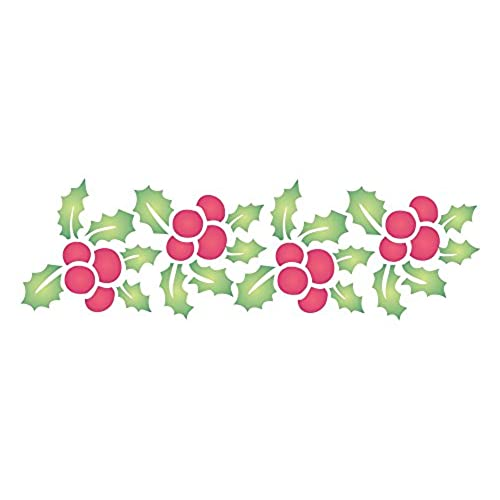 CHRISTMAS HOLLY BORDER Size 7w X 225h Reusable Stencils For Christmas Cards Or Decorations