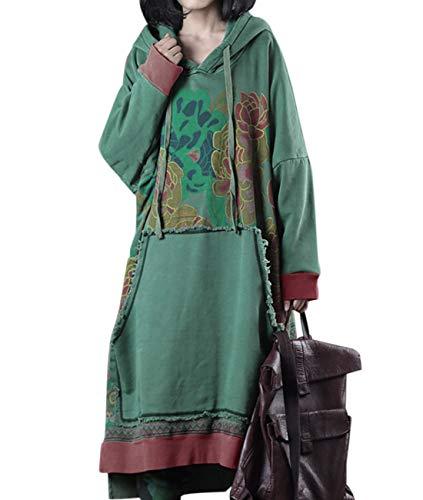 - YESNO JFD Women Long Casual Hooded Sweatshirt Dress Ethnic Floral Print Color Block Hemline/Kangaroo Pocket (One Size (L-2XL), JFD Green 2)
