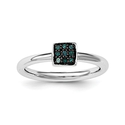 ICE CARATS 925 Sterling Silver Blue Diamond Band Ring Size 7.00 Fine Jewelry Ideal Gifts For Women Gift Set From (Cushion Very Fine Diamond Solitaire)