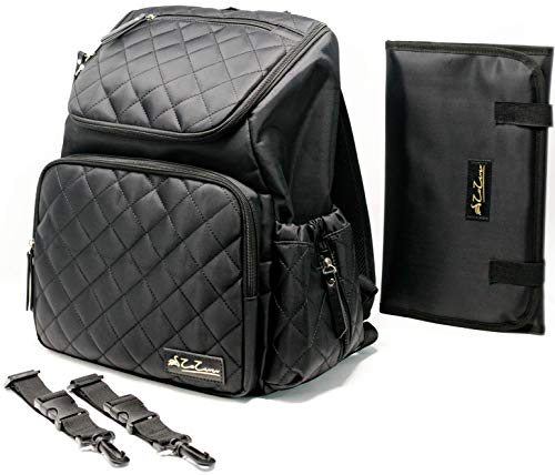 Black Diaper Bag Backpack for Mom and Dad. Large Capacity with Stroller Straps and Changing Pad by ZaZuu.
