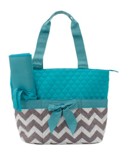 Quilted Monogram Ready Chevron Pattern Aqua 3 Piece Diaper Bag With Changing Pad