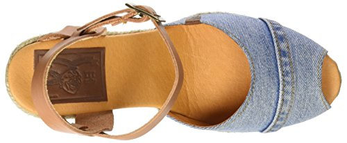 LIBERTO Lib35sl, Sandalias con Plataforma para Mujer Azul (Lavado)