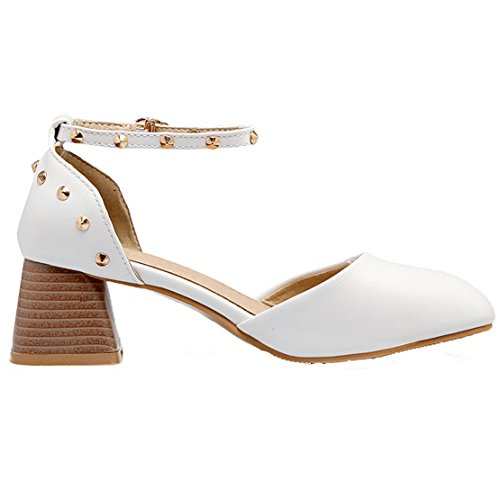 Block with Women's AIYOUMEI Strap Shoes Studded White Ankle Pumps Heel PSHtwqH
