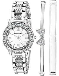 Women's Swarovski Crystal Accented Silver-Tone Bracelet Watch and Bangle Set, AK/3334WTST