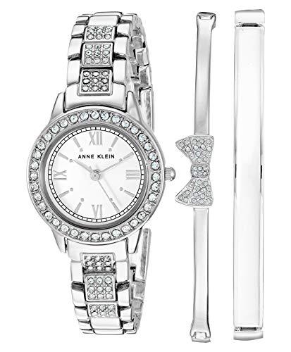 Anne Klein Women's Swarovski Crystal Accented Bracelet Watch Bangle Set