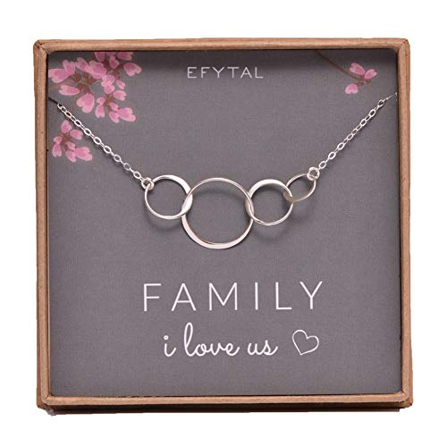 (EFYTAL Sterling Silver Family of Four Circles I Love Us Necklace Mom, Dad 2 Kids Mothers Day Jewelry Gift 4)