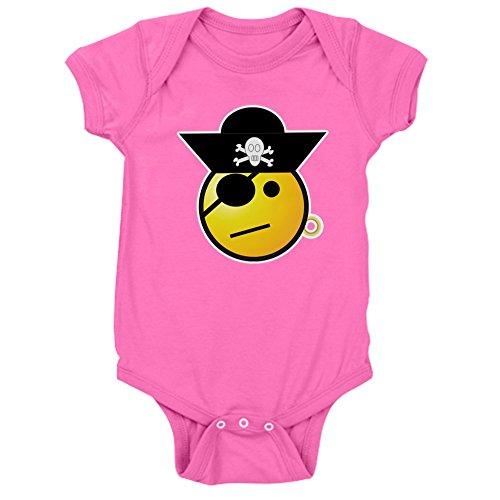 (Truly Teague Infant Bodysuit Dark Smiley Face Pirate - Raspberry, 6 To 12 Months)