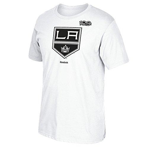 Reebok NHL Los Angeles Kings Adult Men Centennial Logo with Primary Logo S/Tee, Large, White (Primary Logo Reebok T-shirt)