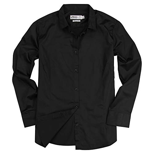 Cotton Tailored Blouse - Urban Boundaries Womens Basic Tailored Long Sleeve Cotton Button Down Work Shirt (Black, XX-Large)