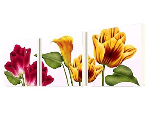 壁掛け アートパネル 【AP017 フラワー 赤 黄 60×60㎝×3パネルセット】薄型9㎜キャンバス 印刷布製 キャンバスアート 壁飾り B07DR44RHS 10848