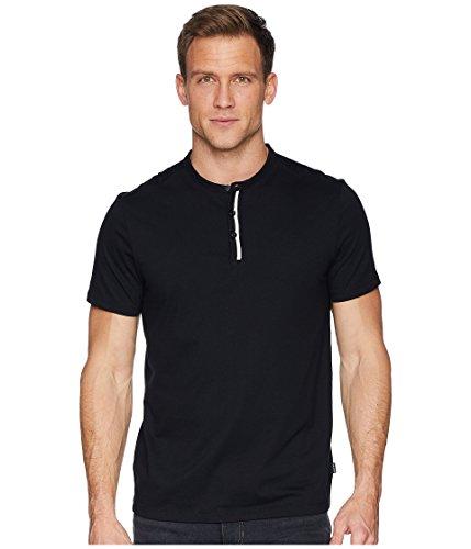 Calvin Klein Men's Short Sleeve Flat Knit Trimmed Jersey Henley Black Combo Large