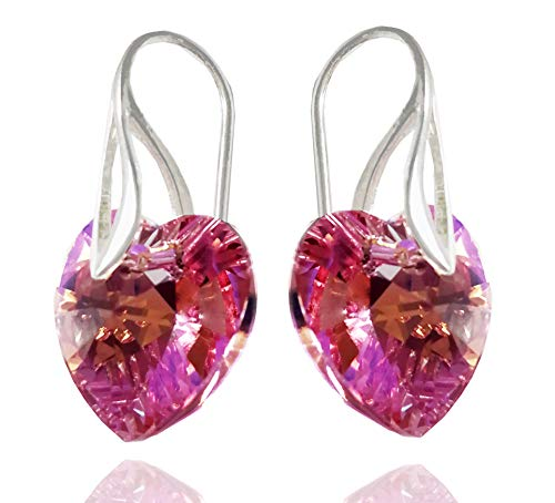 Heart Earrings Royal Crystals Sterling Silver Drop Pierced with Crystals from Swarovski ()