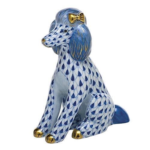 Herend Poodle Dog Porcelain Figurine Sapphire Fishnet