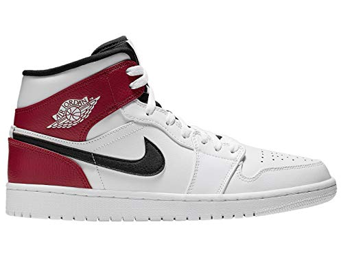 Nike Men's Jordan AJ 1 Mid White/Black/Gym Red Leather Casual Shoes 12 M US