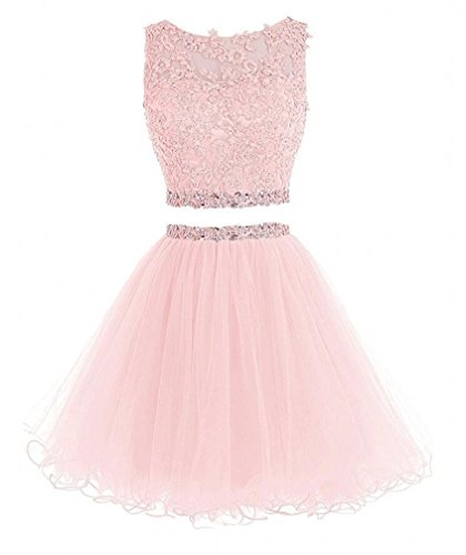 Himoda Women's Two Pieces Short Prom Gowns Beaded Homecoming Dresses H021 8 Pink