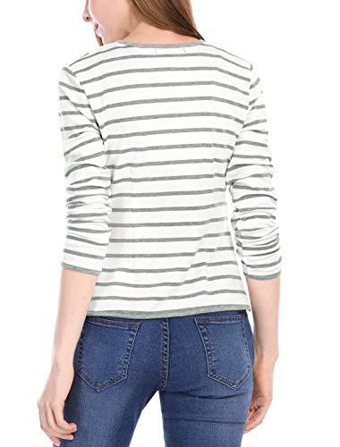 Giovane Women Lunga Casual Leggero Fit Classiche Giaccone Eleganti Manica Bianca Donna Stripe Autunno Cardigan Cappotto Giacca Outerwear Primaverile Slim Moda ZqUWwYOxF