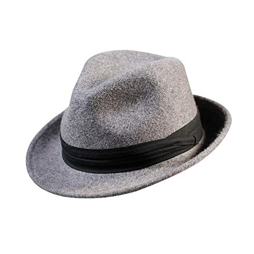 Fedora Trilby Hat-100% Wool Man's Felt Classic Manhattan Short Brim Cap for Women and Men Gatsby (L:7 3/8-23inch, Hemp Gray)