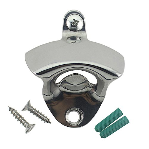 (Stainless Wall Mounted Bottle Opener with Stainless Steel Mounting Screws, Perfect for Restaurants, Bars, Boats, Patios (Upgraded Steel Bottle Opener Wall Mounted))
