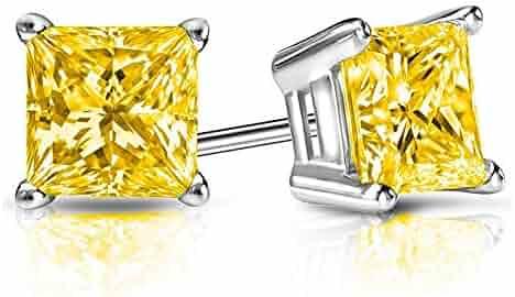 9b27a3e92 2.00 CT Canary Yellow Princess Cut CZ Diamond Stud Earrings in 18K White  Gold Basket Screw