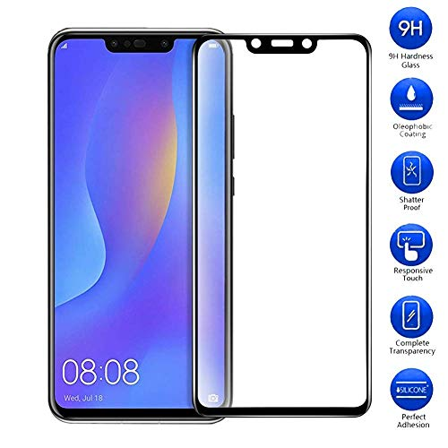 Vicstar Huawei P Smart + Screen Protector, Full Coverage Premium Tempered Glass Effectively Resists Scratches 9H Hardness Bubble-Free for Huawei P Smart +