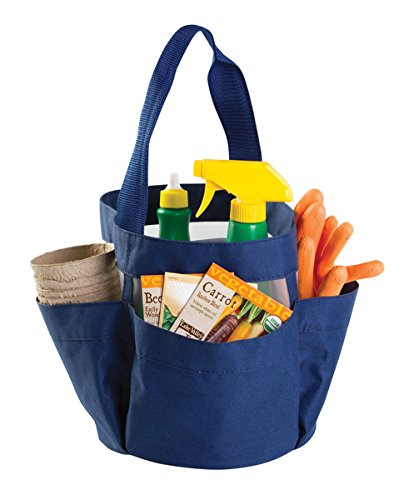 mDesign Heavy Duty Water-Resistant Canvas Garden Tool Tote Caddy � Large Center Section with 4 Side Pockets, Reinforced Mesh Bottom � Multi-Use Carrying Bag, Folds Flat for Storage � Navy Blue by mDesign