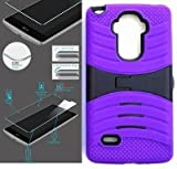 [ NP ARMOR ] Premium Tempered Glass Screen Protector + uPURPLE/Black Phone Case for LG G Stylo/Stylus / LS770 / H631