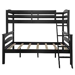 Dorel Living Brady Over Full Bunk Bed, Twin, Black