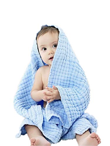 (Organic Muslin Baby Towel Cotton Gauze Super Soft Baby Bath Towel 6 Layers Infant Towel Newborn Blanket Suitable for Baby's Delicate Skin 40 x 40inches Blue by Mom's Love)