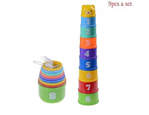 YOYOSTORE 1 Set of 9 Layer Baby Stack Up Cups Toys with Figures Letters for 0 1 2 3 4-5 Year Old Kids