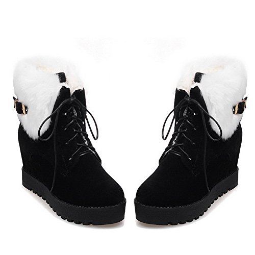 Allhqfashion Women's Kitten Heels Frosted Low Top Solid Lace up Boots Black SbFQ9rRr