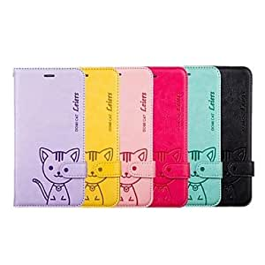 QJM Domi Cat PU Leather Full Body Case With Card Slot with Stand and Strap for iPhone 6 Plus (Assortde Color) , Yellow