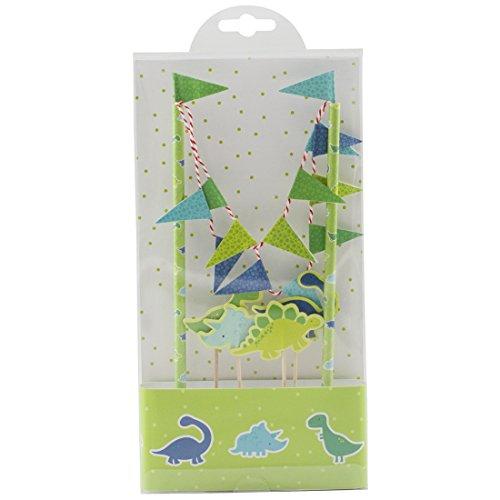 Lolipapa Cute Green Dinosaur Cake Bunting Banner Topper Kit for Kids Birthday Party, Baby Shower, Cake Decoration]()