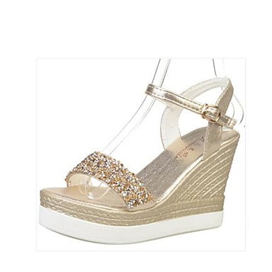 RUGAI-UE Moda de Verano Mujer sandalias casuales zapatos de tacones PU Confort,Blue,US7.5 / UE38 / UK5.5 / CN38 Gold
