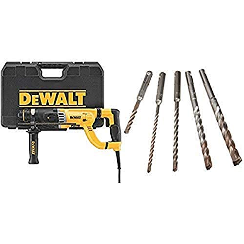 "DEWALT D25263K D-Handle SDS Rotary Hammer with Shocks 1-1/8"" with DEWALT DW5470 5-Piece Rock Carbide SDS Plus Hammer Bit Set"