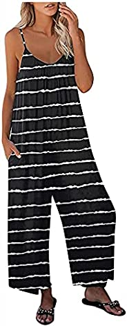 SHOPESSA Overalls for Women Loose Fit Baggy Sleeveless Jumpsuit Boho Beach Plus Size Rompers for Women Casual