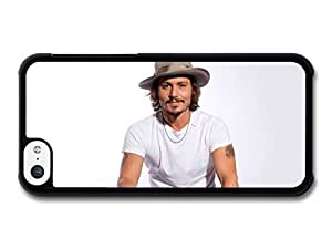 MMZ DIY PHONE CASEAMAF ? Accessories Johnny Depp White Background Smiling Hat case for iphone 4/4s