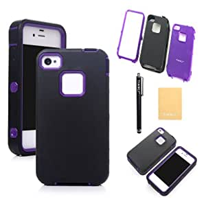 TIANLI(TM)Tuff Hybrid Premium Rugged Hard Soft Case For Apple iphone 4 4,Screen Protectors,Stylus and Cleaning Cloth Black Purple CS