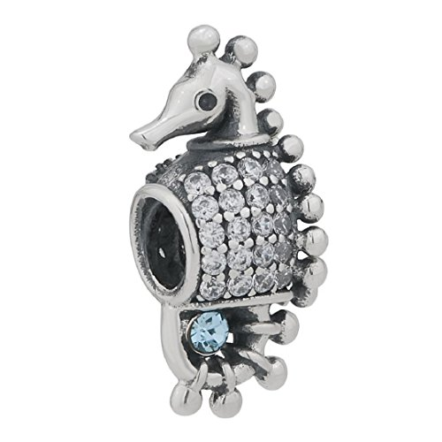 """925 Sterling Silver """"Seahorse Charms"""" Blue Cz Fit European Charms"""