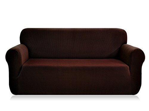CHUN YI 1-Piece Jacquard High Stretch Loveseat Slipcover, Polyester and Spandex 2 Seater Cushion Couch Cover Coat Slipcover, Furniture Protector Cover for Sofa and Couch (Loveseat, Chocolate)