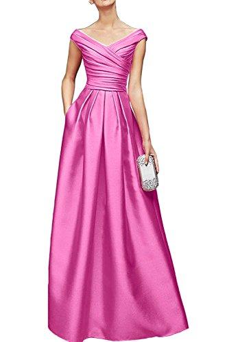 Ausschnitt Abendkleider Blau Braut V Damen Brautmutterkleider Marie Flieder La Royal Satin Promkleider Bodenlang w06FnSq