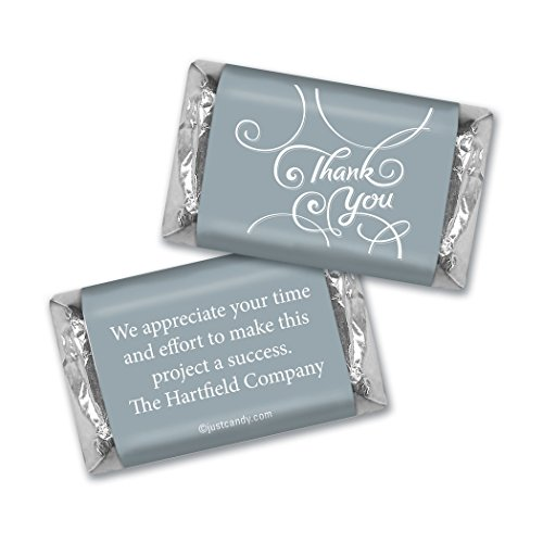 Personalized Miniature Candy Bars - Thank You Personalized Hershey's Miniatures Wrappers - Scroll (100 Wrappers) Silver
