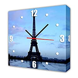 QiXian Modern Living Room Dining Room Decoration Painting Mute Watch Canvas Painting Single Wall Clock Eiffel Tower Contains Frames, Clocks and Paintings, 1PCS, 4040cm